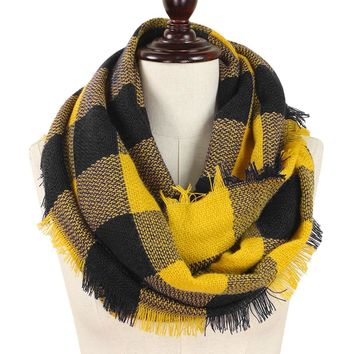 Black and Yellow Buffalo Plaid Woven Infinity Scarf