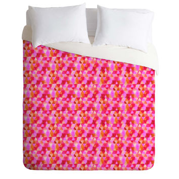 Joy Laforme Kaleidoscope In Pink Duvet Cover
