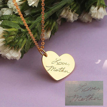 Actual Fingerprint Necklace - Personalized Handwriting Necklace - Heart Engrave Necklace - Memorial Jewelry