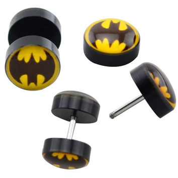 BATMAN Cheater Plugs Earlet Earrings Piercing 10mm 10 pieces / lot = 1927909764