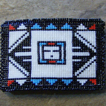 Zuni Style Barrette Hand Made Seed Beaded Native inspired