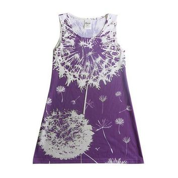 Dandelion on purple - girls lilac flower dress