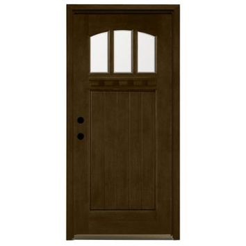 Steves & Sons, Craftsman 3 Lite Arch Stained Mahogany Wood Entry Door, M4151-HY-MJ-6RH at The Home Depot - Tablet