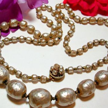 "Vintage Miriam Haskell Necklace Beaded Champagne Baroque Glass Pearls Signed 30"" VG"
