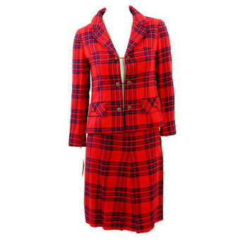 Mod Red Plaid Suit by Lord & Taylor
