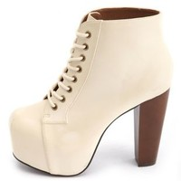 High Heeled Lace-Up Platform Booties by Charlotte Russe - Off White