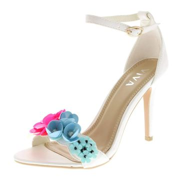 Womens Sandals Floral Barely There Fashion Open Toe Strap Cut Out Heels