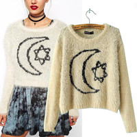 Stars And Moon Embroidery Long Sleeve Sweater