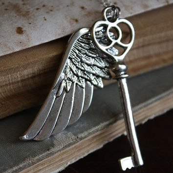 ON SALE Flying Key Necklace - Large Key and Wing Necklace