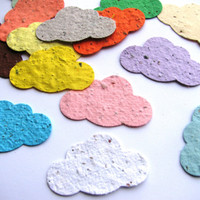 50 Plantable confetti CLOUDS- choose from 16 colors- Wildflower blend