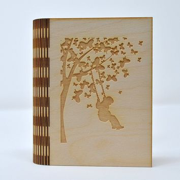 Laser Cut Notebook - Butterfly Tree with Child Swinging