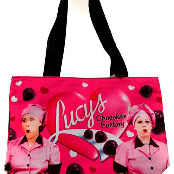 I Love Lucy Tote Bag Chocolate Factory Ethyl Wrap & Eat Westland Pink Beach