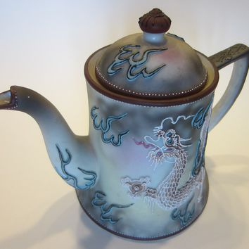 Nippon Moriage Teapot Hand Painted Dragon Beaded Earth Tone Signed