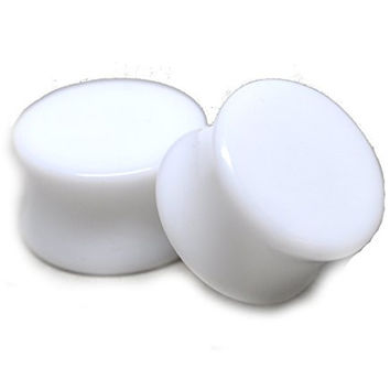 White Acrylic Plugs - 5/8 Inch - 16mm - Sold As a Pair