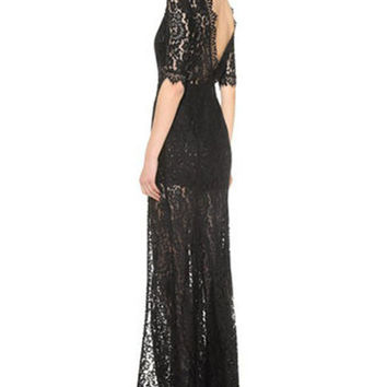 Half Sleeve Backless Lace Maxi Dress