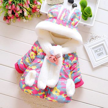Winter Baby Girl Clothes Long Sleeve Camouflage Print Hooded Jackets Kids Infants Outerwear Coats Snow Wear roupas de bebe