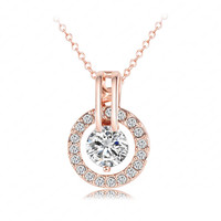 Rose Gold Crystal Round Pendant Necklace