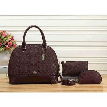 Perfect Coach Women Shopping Leather Tote Handbag Shoulder Bag Set Three-Piece