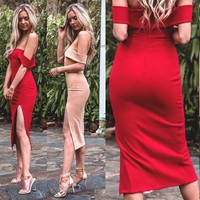 Sexy Women Off Shoulder Bandage Bodycon Evening Cocktail Party Mini Short Dress