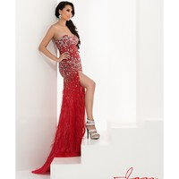 Preorder - Jasz Couture 4826 Strapless Red Feather Gown With Rhinestones 2016 Prom Dress