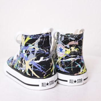 Toddler Black High Top Splatter Painted Converse Sneakers Toddler Size 4, Purple Camou