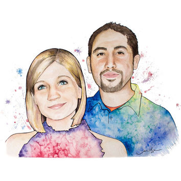 Custom Watercolor Couples Portrait. 3 sizes available. Thoughtful wedding gift & anniversary gift! Any 2 lovely people (or pets).