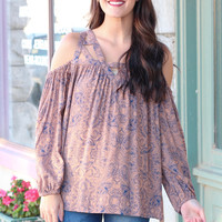 Floral Print Open Shoulder Strappy Blouse {Mocha}