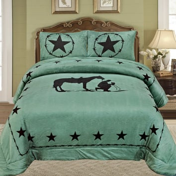 Western Turquoise Praying Cowboy Horse Star Blanket Borrego Fleece - 3 Piece Set