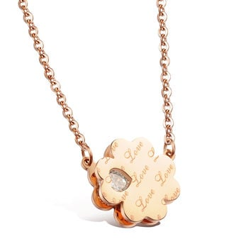 Lucky clover loving heart diamond necklace Laser English letters Lady's rose gold plated clavicle titanium steel chain