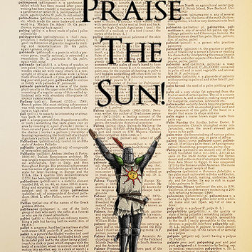 Praise the Sun!, Dark Souls, Dictionary Art Print, antique, video game, Vintage Antique Book Page, Upcycled, 8x10 Print, #011