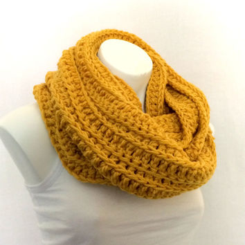 Mustard Gold Chunky Infinity Scarf, Crochet Scarf, Unisex Cowl