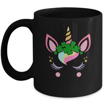 DCKIJ3 St Patrick's Day Leprechaun Unicorn Face Mug