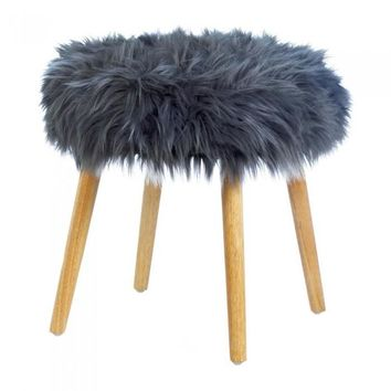 Gray Faux Fur Footstool
