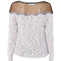 Gray Scallop Mesh Neckline Long Sleeve Pullover