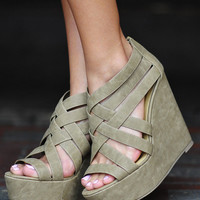 Criss Cross Wedges: Taupe | Hope's