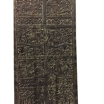 Mogulinterior Antique Tribal barn door Harvest Festival Old World artisan crafted Handcarved Wall Art Home Decor Wall Panels