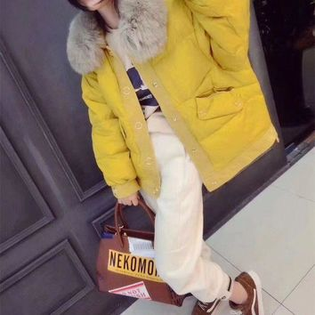 ONETOW Moschino' Women Fashion Cute Cartoon Bear Pattern Print Long Sleeve Fur Collar Cotton-padded Jacket Coat