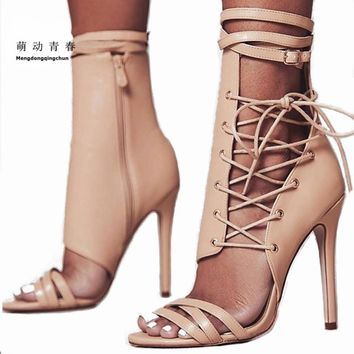 Women Sandals 2018 Fashion Summer Gladiator Sandals Woman Shoes Lace Up Ankle Strap High Heels Party Shoes Sapatos