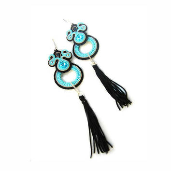 CHRISTMAS SALE 50%, Soutache Earrings Tassels, Black Blue, Handmade, Black Earrings, Statement Jewelry, Dangling Earrings, Blue Earrings