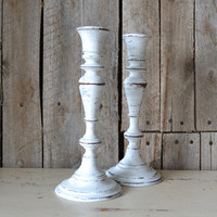 White Distressed Candlesticks - Set of 2