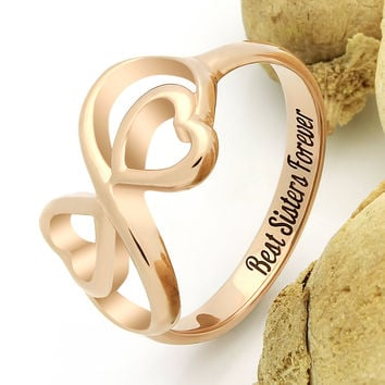 "Sister Double Heart Ring, Promise Sister Ring, Heart Ring ""Best Sisters Forever"" Engraved on Inside Best Gift for Sister"