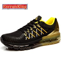 2016 EsyrunKing Men's Running Shoes For Women Outdoor Sport Sneakers Male Breathable Adult Athletic Shoes Black Free Shipping
