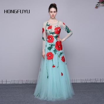 100% Real Photo Scoop Neck Long Sleeves Tulle A Line Long Prom Dresses 2017 Elegant Flowers Zipper Floor Length Prom Dress A005