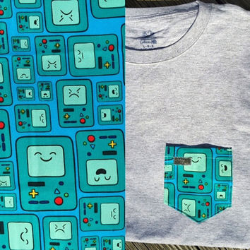 Adventure Time Beemo Expressions Collage Patterned Pocket Tee - Green Beemo, Happy, Angry, Sad