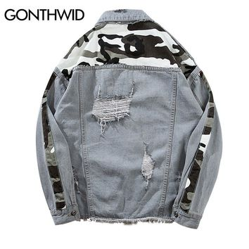 Trendy GONTHWID Vintage Camo Camouflage Patchwork Ripped Hole Denim Jacket Men 2018 Hip Hop Casual Distressed Denim Jeans Jackets Male AT_94_13