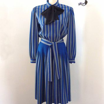 striped secretary dress  - 80s secretary dress - albert nipon - vintage dresses