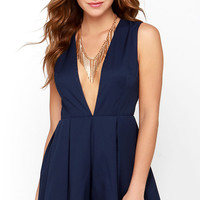 Back at it Again Navy Blue Romper