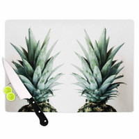 """Chelsea Victoria """"Two Pineapples"""" Green Gold Cutting Board"""