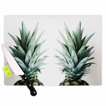 "Chelsea Victoria ""Two Pineapples"" Green Gold Cutting Board"