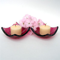 Glass Tea or Votive Candle Holder Pair - Fused Glass - Plum or Dark Pink Glass